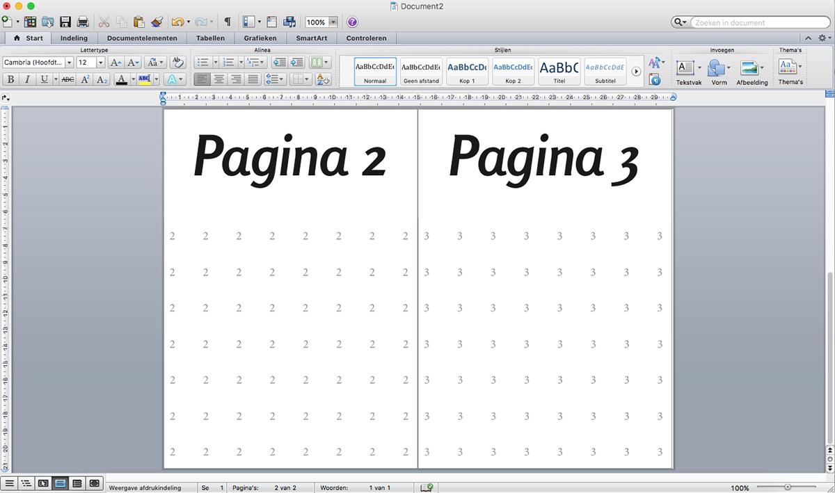 Resultaat inslag, pagina 2 en 3