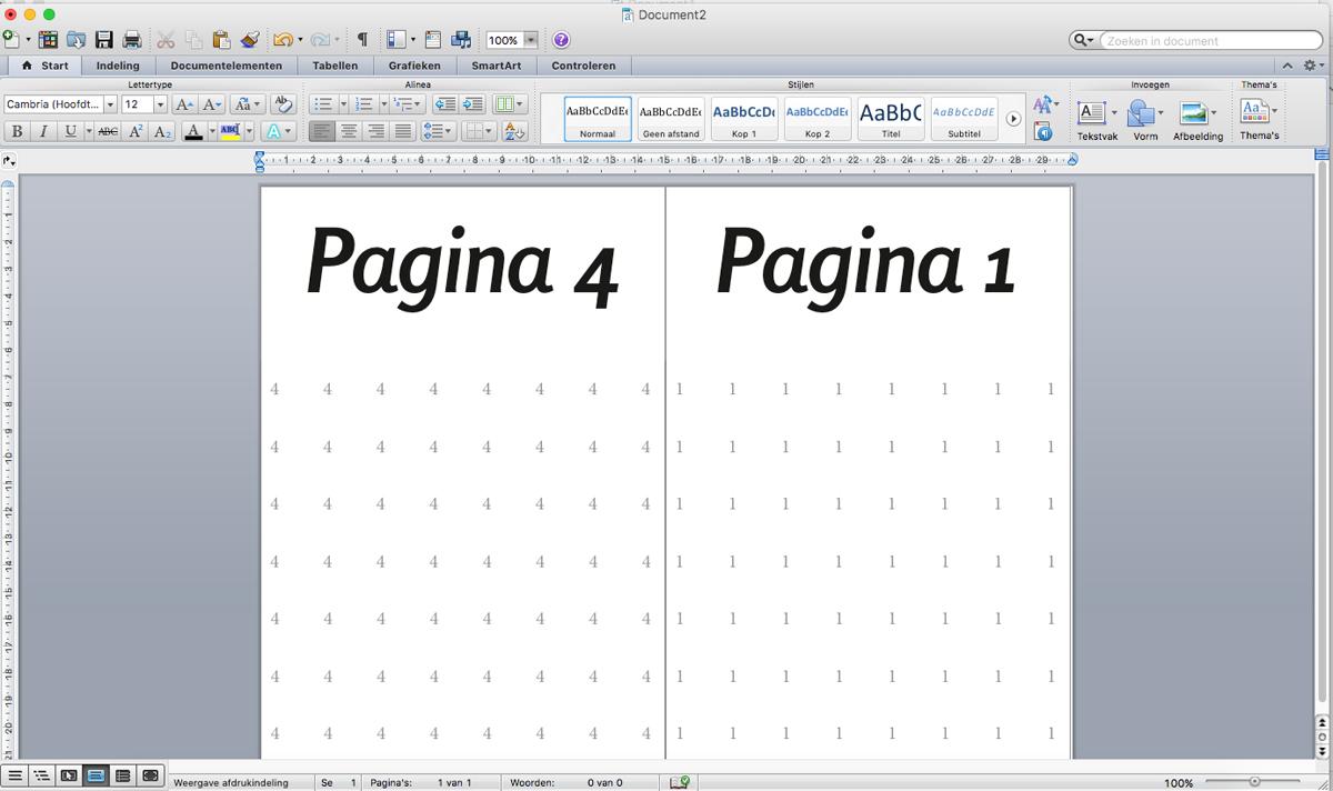 Resultaat inslag, pagina 1 en 4